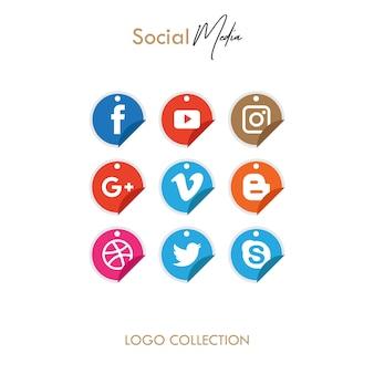 Cercle de l'icône populaire médias sociaux