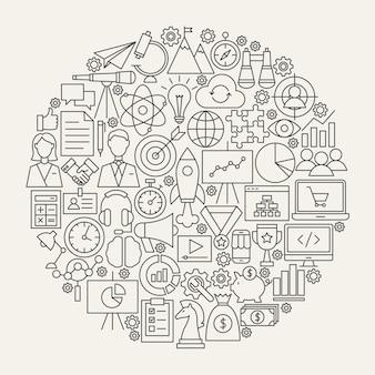 Cercle d'icônes de ligne de démarrage. illustration vectorielle d'objets de contour d'entreprise.