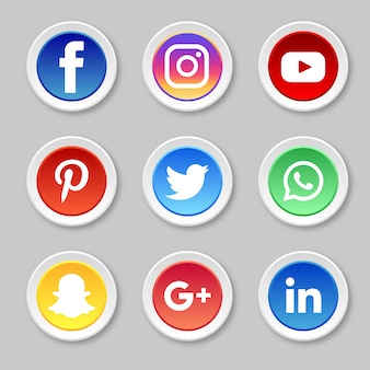 Cercle des icônes de médias sociaux