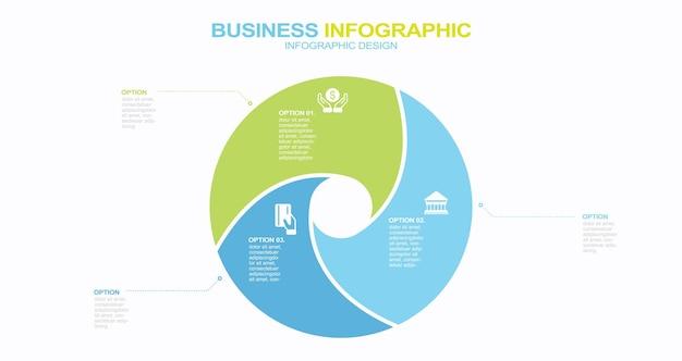 Cercle infographie diagramme présentation 3 options stock illustration