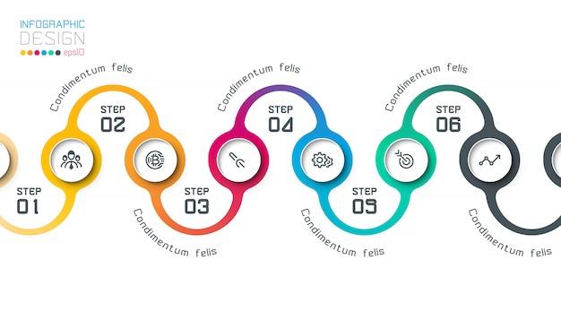 Cercle infographie étiquette avec étape par étape.