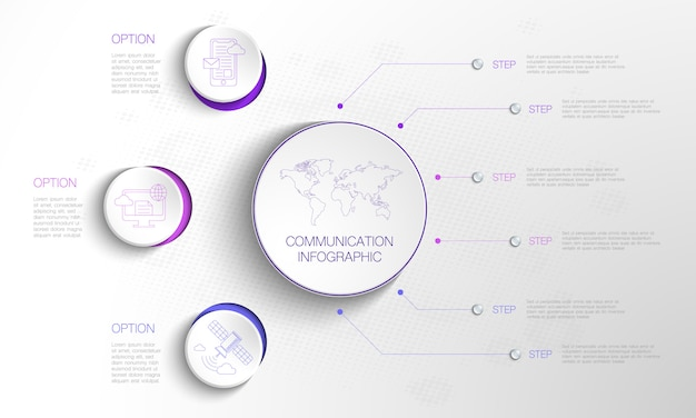 Cercle infographique avec 3 options de cercle et 6 étapes