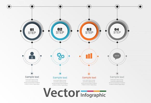 Cercle infographique avec 4 étapes
