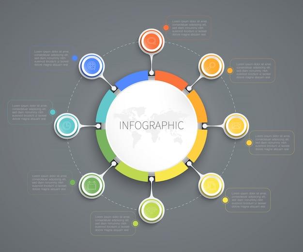 Cercle infographique connecté à 8 options