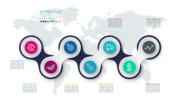 Cercle lié à l'infographie de l'icône de l'entreprise sur la carte du monde