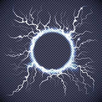Cercle lightning réaliste fond transparent