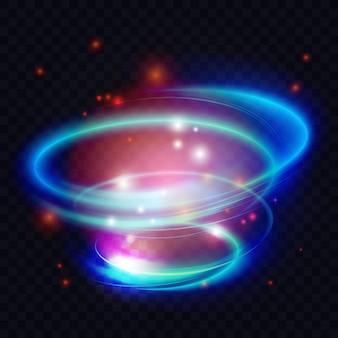 Cercle de lumière tourbillonnant des formes en spirale des lignes d'effet d'énergie abstrait des anneaux de néon brillants brillent