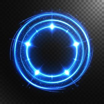 Cercle lumineux abstrait avec un fond transparent, isolé et facile à modifier.