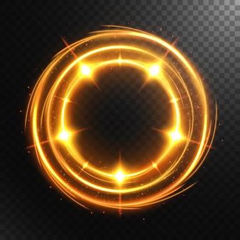 Cercle lumineux abstrait avec un fond transparent, isolé