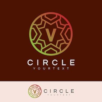 Cercle de luxe initial lettre v logo design
