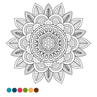 Cercle mandala ornement antistress à colorier