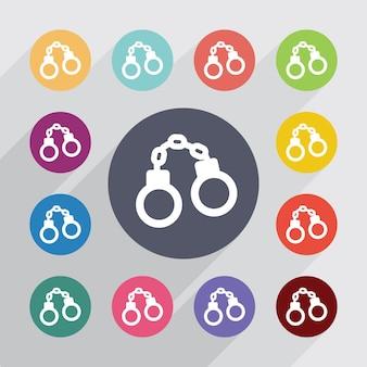 Cercle de menottes, jeu d'icônes plat. boutons colorés ronds. vecteur