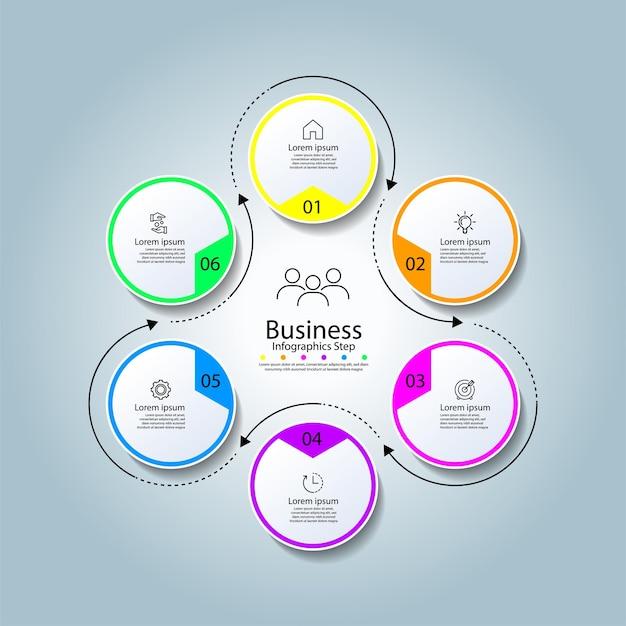 Cercle de modèle d'infographie d'affaires coloré avec six étapes