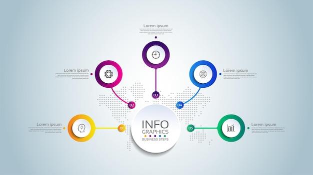 Cercle de modèle d'infographie d'entreprise de présentation coloré avec cinq étapes