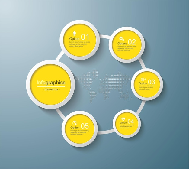 Cercle de modèle d'infographie de présentation entreprise avec 5 étapes