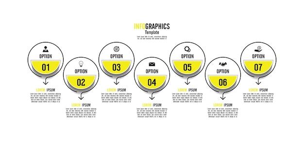 Cercle de modèle d'infographie de présentation entreprise avec 7 étapes