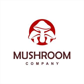 Cercle moderne simple de logo de champignon rouge
