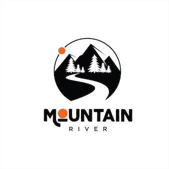 Cercle moderne simple de logo de rivière de montagne
