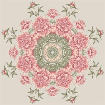 Cercle motif floral avec pivoines