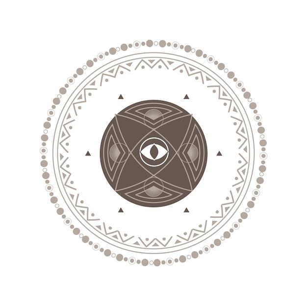 Cercle mystique avec le symbole spirituel de tatouage d'oeil sur le blanc