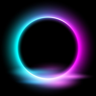 Cercle néon avec effet de lumière sur fond noir.