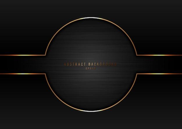 Cercle noir abstrait avec cadre bordure dorée