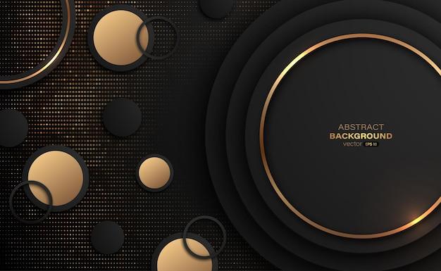 Cercle or et noir avec fond abstrait doré pailleté