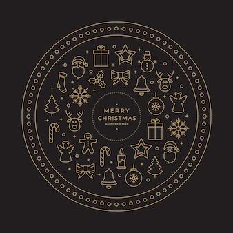 Cercle d'or noir joyeux noël ligne icônes éléments