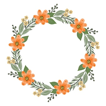 Cercle oranges bouquet cercle cadre avec fleur d'oranger et bordure de feuille verte