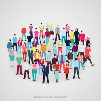 Cercle original formé avec des citoyens