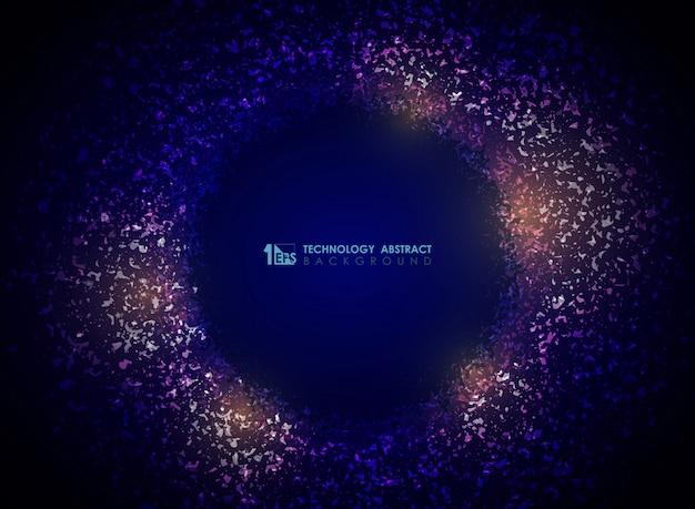 Cercle de particules technologie abstrait de couleur violet dégradé