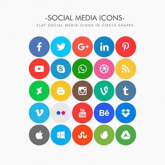 Cercle plat coloré icônes de médias sociaux pack