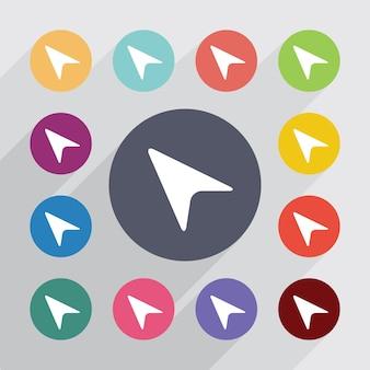 Cercle de pointeur de flèche, ensemble d'icônes plat. boutons colorés ronds. vecteur