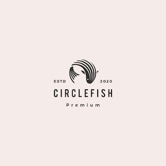 Cercle rond poisson logo hipster rétro vintage icône illustration