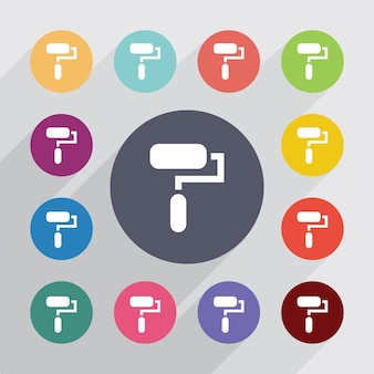 Cercle de rouleau de peinture, jeu d'icônes plat. boutons colorés ronds. vecteur