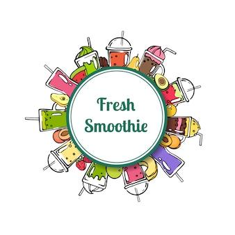 Cercle de smoothie vecteur doodle