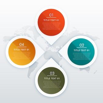Cercle et style de flèche quatre étapes infographies conception pour les présentations professionnelles ou mise en page des diagrammes de flux de travail