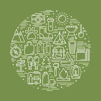 Cercle avec symboles de randonnée et de camping