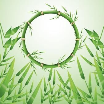 Cercle de tronc de bambou avec l'icône de feuilles. décoration de plantes de la nature