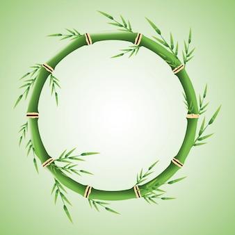 Cercle de tronc de bambou avec l'icône de feuilles.