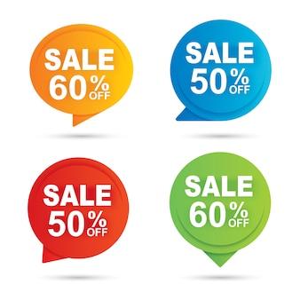 Cercle vente bannière multi couleur papier abstrait