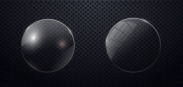 Cercle de verre sur fond transparent