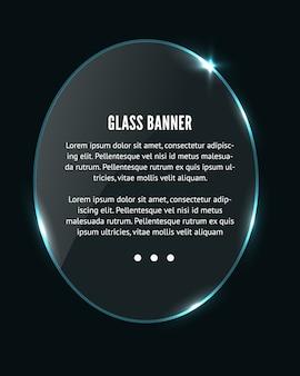 Cercle de verre réaliste, bannière ovale