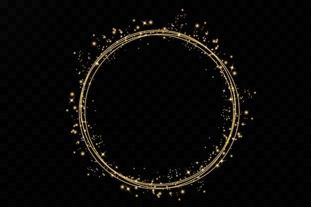 Cercles et anneaux dorés.