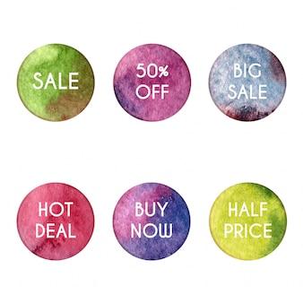 Cercles aquarelles avec thèmes de vente