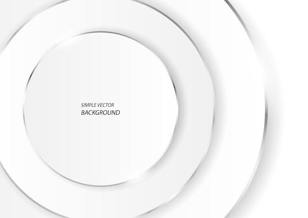 Cercles blancs avec des lignes argentées, arrière-plan vectoriel luxueux simple et moderne en eps10