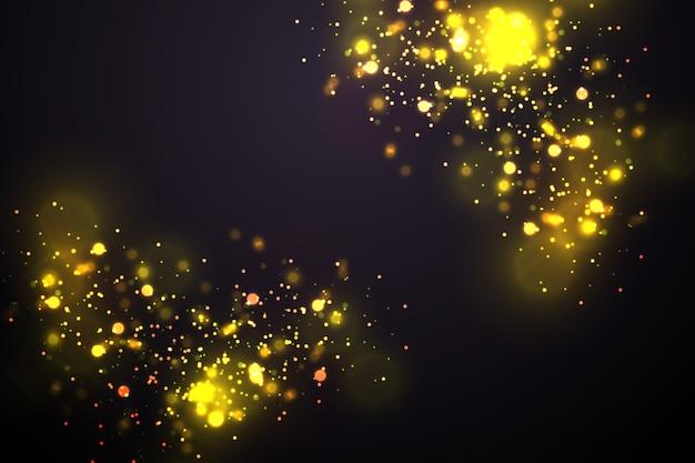 Cercles bokeh jaune brillant abstrait fond de luxe or