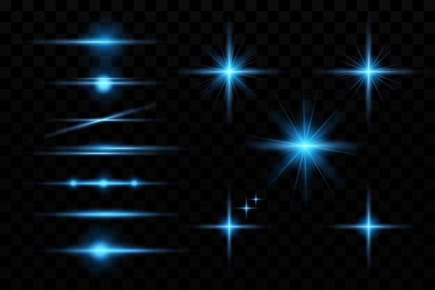 Cercles brillants bleus étoiles du soleil particule pour la conception