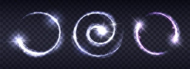 Cercles brillants lumineux sur fond transparent.