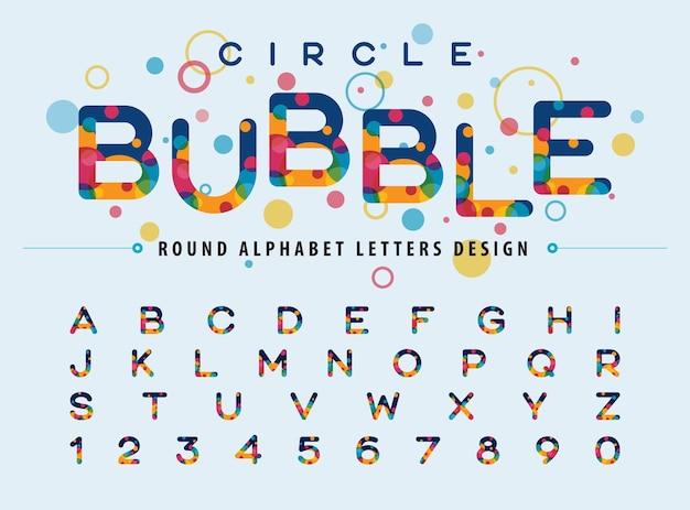 Cercles colorés abstraits à l'intérieur des lettres de l'alphabet polices de bulles de couleur moderne jeu de lettres de style arrondi